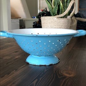 Rustic farmhouse robin's egg blue colander